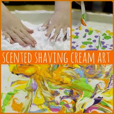 scented shaving cream art is a fun sensory art experience for kiddos