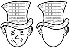 Have your students record the number of times they read (or the number of books that they have read) in March with these leprechaun reading sticker charts.  You can use the template on the left, or give your students the template on the right, where they draw their own faces.