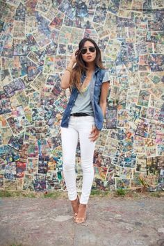 white pant, simple classy outfits, overs jean, jean vest, closet, white jeans, jean grey