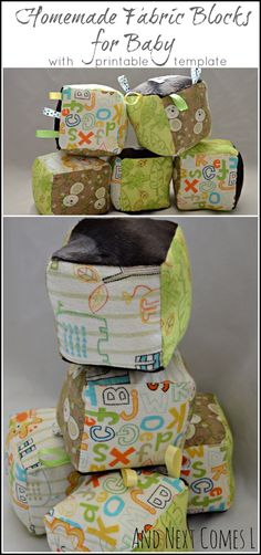 Homemade fabric blocks for baby that rattle and jingle - comes with a free printable template from And Next Comes L
