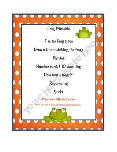 classroom idea, preschoolprint, teacher notebook, childhood printabl, notebooks, printabl freebi, frogs, frog printabl, frog classroom