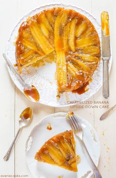 caramel banana, upsidedown cake, banana upsidedown, food, upside down cakes