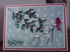 Snowy branches. Made with my new Grove Branch from Memory Box.  SueBee Cards   Susan Bagley snowi branch, memori box, card