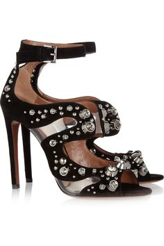 Alaïa crystal-embellished suede sandals