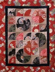 Patchwork Quilt  black and red Japanese by kallistiquilts on Etsy, $280.00