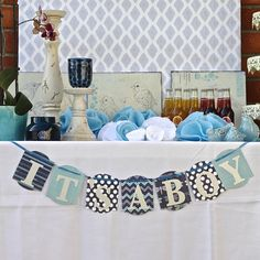 Baby Boy Shower Decoration.  IT'S A BOY Blue Banner Sign. I think I could DIY this :)