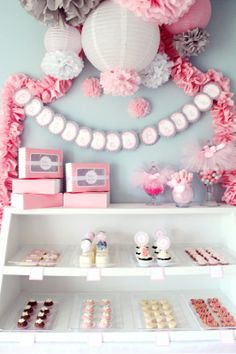 bakery-esque party pom poms, little girl parties, birthday parties, bakeri, garland, babi shower, ballerina birthday, baby showers, ballerina party