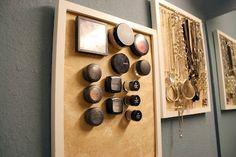 Magnetic Makeup Board + Bathroom Jewelry Organization