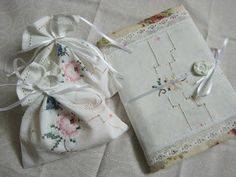 Vintage hankies made into soap sachets and a journal cover