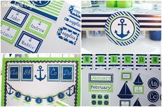 Preppy nautical sailboats whales anchors ocean monogram polka dots lime green navy stripes classroom decor theme decorations school Created by Schoolgirl Style www.schoolgirlstyle.com