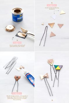 DIY leather hairpins