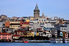 istanbul skyline view with galata tower at center, Turkey