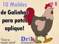 10 Moldes de galinhas para patch aplique. Você precisa fazer!