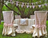 Burlap and Lace Ruffle Tablecloth. $90.00, via Etsy.