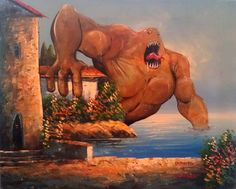 Adding monsters to thrift store paintings.  Genius.  via Apartment Therapy