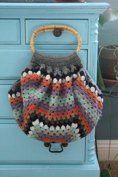 Crochet Granny Square Fat Bottom Bag by ELLAandOLLIE on Etsy bag crochet, crochet granny squares, granny square crochet bags, bottom bag, granni squar
