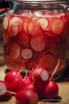Pickled Radishes with red wine vinegar