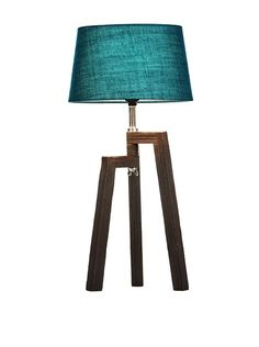 Filament Wood Base Table Lamp, Petrol/White at MYHABIT