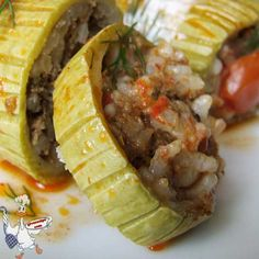 Stuffed Zucchini | giverecipe.com | #zucchini #stuffed #rice #groundbeef #middleeast