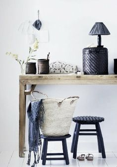 decor, interior, entryways, stool, natural wood, baskets, entryway organization, black, design