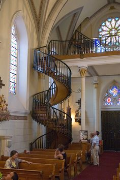"the ""miraculous staircase"" of the Loretto Chapel in Santa Fe, New Mexico."