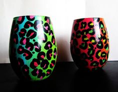 stemless colorful leopard wine glasses