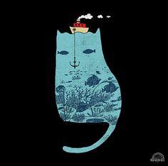 Something Fishy Cat Illustration by I Love Doodle