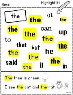 Make learning sight words fun and engaging with this set of worksheets. Students will use highlighters to identify common sight words.