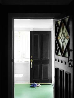 decor, green floor, mint green, black doors, gorgeous green, dream hous, black white, green paint, painted floors