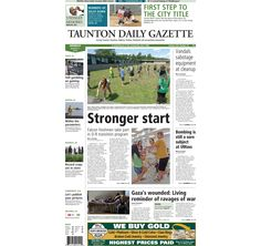 The front page of the Taunton Daily Gazette for Monday, Aug. 11, 2014.