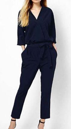 Elegant Navy Blue V Neck Jumpsuit for Woman