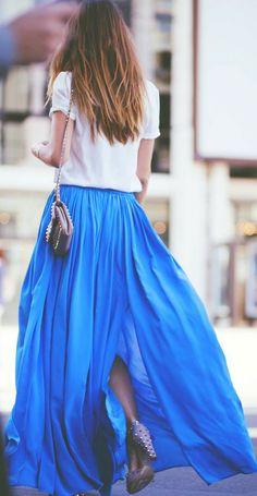 fashion, color, cobalt blue, maxis, long skirts
