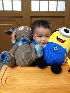 Super Cute Minion! Super Hot Minion! Yellow Crochet Minion with blue clothes. on Etsy, $35.00