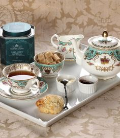Historic Royal Palaces teaware from Harney & Sons ...details taken from the gardens at Hampton Court Palace, the famous gates at Kensington Palace and the Jewels at the Tower of London.