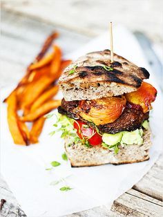Grilled Portobello and Peach Burger http://www.ivillage.com/grilled-veggie-recipes/3-a-542463