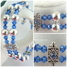 Idea for 2-wrap Memory Wire Bracelet - double spacers. (Blue Swarovski Crystal and Silver Memory Wire Bangle Bracelet | jazzitupwithdesignsbynancy - Jewelry on ArtFire)