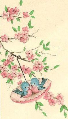 Adorable little bluebirds in a pink parasol. #spring #birds #vintage #illustrations