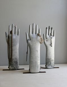 vintage industrial aluminum glove mold