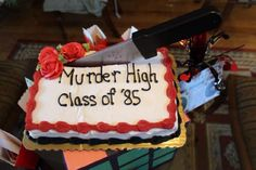Add a bloody knife to almost any cake for the perfect murder mystery cake!