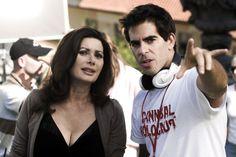 Edwige Fenech and Eli Roth on-set of Hostel 2 (2007)