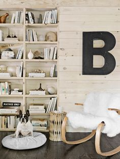 my kind of cabin. books, french bulldogs, big letters, cabins, bookcas, hous, cabin decorating, shelv, cabin fever