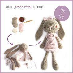 Tutorial paso a paso sobre cómo hacer un peluche de #crochet con la técnica de #amigurumi o tejido en espiral. #Conejita de orejas largas.