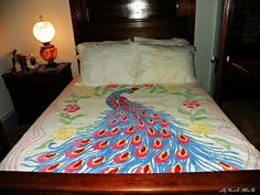 Peacock Print Bedding chenille | Peacock Bedspreads