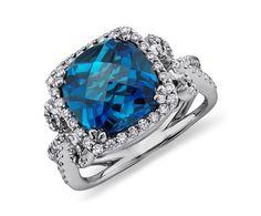 London Blue Topaz and Diamond Scroll Ring in 14k White Gold #BlueNile