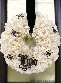 Coffee Filter Wreath made with Sizzix Gothic Boo die and Mini Spider die