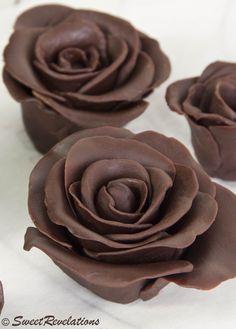 How to make chocolate roses from modeling chocolate. Also has recipe to make modeling chocolate! Cupcak, Cake, Sweet, Chocolates, Food, Dark Chocol, Roses, Chocol Rose, Dessert