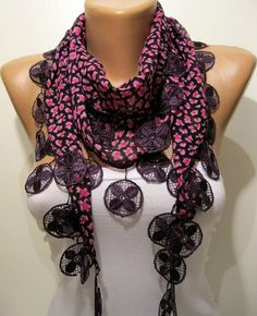 Pink and Dark Purple Elegance Shawl / Scarf with by SwedishShop, $13.90