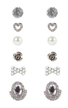 Deb Shops Set of 6 Stud Earrings with Stones and Bow $6.00