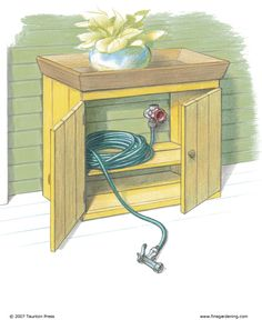 """""""Great idea! Outdoor faucet and hose are by my front door. To disguise them,  bought a small cabinet, painted it to match the house, and cut out the back panel.  place the cabinet so that the spigot was in the back of the cabinet. The hose, attached to the faucet, sits inside, out of sight behind the closed doors. When you need to use the hose,  just pull out the hose and turn on the faucet."""
