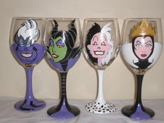 Hand Painted Disney Divas Wine Glass. You Choose by JordanFeesArt, $30.00